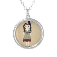 Beautiful Big Eyed Native American Girl Jewelry from Zazzle.com