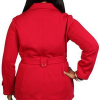 plus size fleece jacket with double breasted buttons and self tie belt - debshops.com
