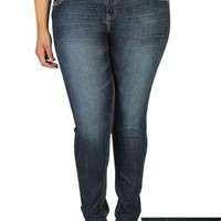 plus size wax skinny jean features metallic stitching and dark wash - debshops.com