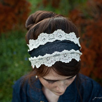 shabby chic Stretch denim and lace headband by GarlandsOfGrace