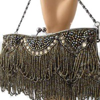 Beaded Evening Bags-Vintage Inspired Bronze Beaded Fringe Clutch Purse
