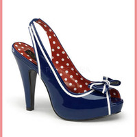Pinup Couture Bow Accent Navy Blue Patent Slingback Platform Heels