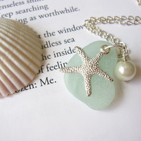 Starfish on Sefoam Sea Glass with fresh water pearl -  Perfect nautical gift for sisters, girlfriends or bridal party FREE SHIPPING