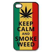 Keep Calm and Smoke  Custom  iPhone Case 4 / 4S case Apple Phone Hard Cover Plastic