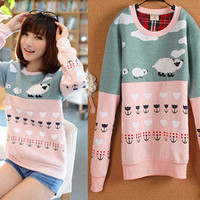 Fashion Sheep Top SweatshirtKorean casual Japan/Korea blouse sweater shirt XS S