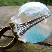 globe ring eiffel tower petit paris glass dome urban city snow globe brocade mini terrarium ring miniature terrarium jewelry