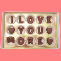 I Love You More Large Milk Chocolate Letters-Anniversary Valentines Gift for Her Him-Made to Order
