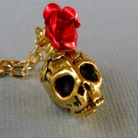 Gold Rose Skull Necklace