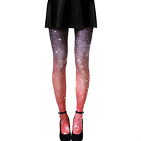Galaxy Tights - Crimson Nebula Ombre Tights, Sheer Leggings