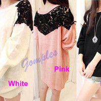 New Fashion Women Girls Round Neck Long Sleeve Back Lace Sweet Knitwear Sweater