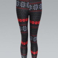 Red Woolen Knit Leggings with Snowflake Pattern