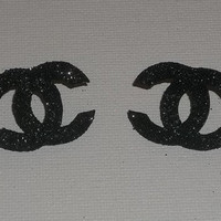 Black Glitter Chanel Logo Post/Stud Earrings
