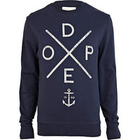 Navy dope print sweatshirt