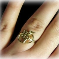 Harry Potter ring - Made to order solid brass ring - Happy Potter initials and quiddich ball - Golden Snitch
