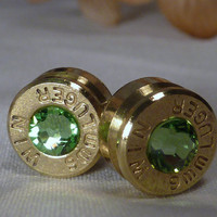 Bullet Earrings. August Birthstone. Peridot . 9mm Luger. FREE SHIPPING