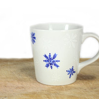 Christmas Gift  Hand Painted Ceramic Mug Winter tea cup white blue snowflakes  white minimalist  kitchen decor Decorative Art Christmas Gift