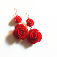 Rose Earrings, Statement Floral Earrings in Romantic Red, Black Friday Fashion SALE