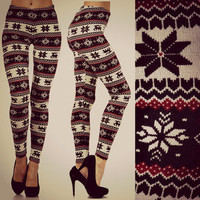Nordic Snow-Flake Reindeer Winter Knit Leggings Holiday Fashion Pants S M L