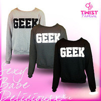 NEW GEEK JUMPERS PARISIAN BRAND LOOSE FIT LONG SLEEVE WOMENS LADIES PULL OVER