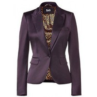 D&G DOLCE & GABBANA Aubergine One Button Jacket,$270,cheap D&G, clothes,D&G
