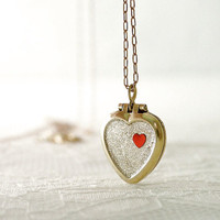 Gold heart locket necklace - customized colors on brass chain - dainty sweet jewelry