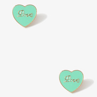 Cursive Love Heart Studs