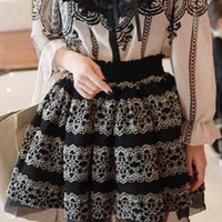 Romantic Gothic Princess. Black Mesh Silver Lace Full Skirt from Letsglamup