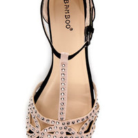 Bamboo Lynna 01 Nude and Black Rhinestone Studded Strappy Flats