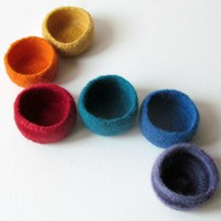 Rainbow Felted Bowls -gorgeous Acce.. on Luulla
