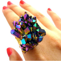 Titanium Quartz Crystal Rainbow Druzy Ring by AstralEYE
