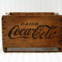 Vintage Coke Wood Crate / Wooden Crate / Industrial Storage Large
