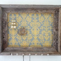 Distressed Jewelry Holder Organizer-Barn wood Frame Yellow Grey Damask Fabric Nailhead Necklace  Hooks-Ready To Ship