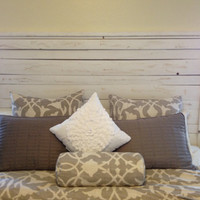 Reclaimed distressed white headboard Tall version
