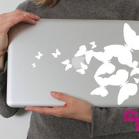 Flutterbies (Laptop Decal Removable Vinyl Laptop Sticker  Computer Decal PC Apple Macbook Mac Geekery Wall Sticker Butterfly Nature)