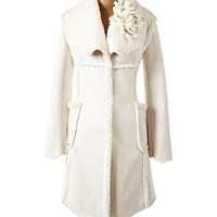 Flower Trim Shearling Coat Wht - Dress Coats - COATS - Jessica Simpson Collection