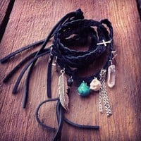 New Moon Leather Wrap Bracelet (and Necklace) | Child of Folk