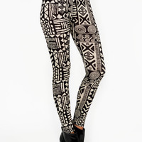 tribal-printed-leggings BLACKKHAKI BLACKWHITE - GoJane.com