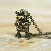 10% SALE - Necklace Miniature Robot Retro Itty Bitty Cute Antique Brass Kawaii Pendant Necklaces Gift