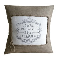 French Cafes Chocolat Burlap Pillow.. on Luulla