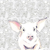 Pig Art Print - Love Me Some Pig With Wallpaper Background - Nursery Art