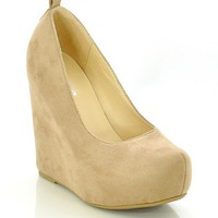 Taupe Faux Suede &#x27;Alfa&#x27; Wedge Heel Shoes