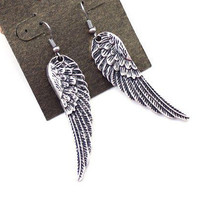 Antique Silver Angel Wing Dangle Earrings wholesale