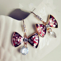 Elegant Shell Rhinestone Bow Drop Earrings wholesale