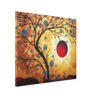Abstract Gold Landscape Painting Tree Moon Hills Gallery Wrap Canvas from Zazzle.com