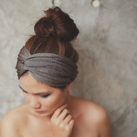 Black Friday to Cyber Monday SALE/Desert Star, Extra wide Turban Twist Headband - Glister Metallic Brown