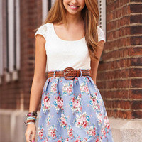 Short-Sleeve Crochet Floral Dress
