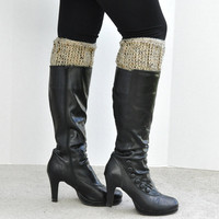 Crochet Boot Cuff Oatmeal Tweed