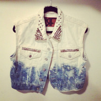 Ombre Studded Denim Vest