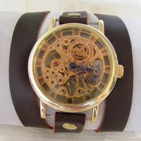 Stainless Steel Manual-Winding Semi-Automatic Mechanical Gold Watch. 20% Off - 79 Dolars Only  FREE SHIPPING