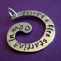 Adele Pendant Rolling in the deep hand stamped by SpiffingJewelry